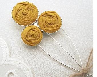 Yellow Flower Boutonniere - Mens Lapel Pin in Mustard Ochre Fabric Flowers