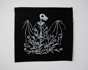 Bat Skeleton and Chicory Sew On Punk Back Patch in Black