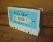 """cassette tape wallet, retro and ecofriendly recycled case, TURQUOISE, BLUE, GRAY grey, """"Pinocchio"""" // mens kids womens unisex wallet, OoaK"""