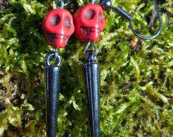 Day of the Dead Red Skull and black/silver spike Hook Earrings