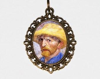 Van Gogh Necklace, Fine Art Jewelry, Oval Pendant