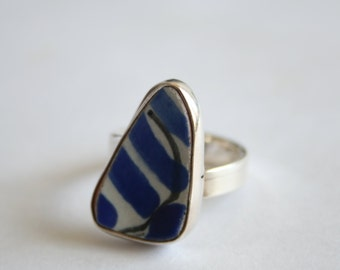 Beach Pottery Ring Sterling Silver Ring Handmade Jewelry Beach Glass Ring Size 9-