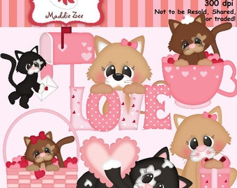 Purrfect Valentine Kittens 1 Clipart (Digital Download)