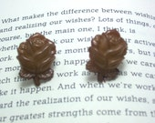 Rose Flower Button Earrings, Button Jewelry, Rose Earrings, Flower Jewelry,