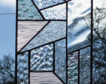 Clear Textured Stained Glass Abstract design called Quilt