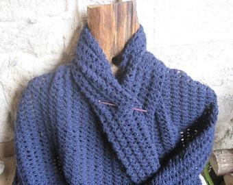 Fireside shawl, Crochet shawl, navy Blue shawl, rectangular shawl.