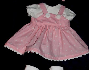 "Pink and White Polka Dot Jumper, Blouse, Headband & Booties  Set Fits Bitty Baby or Other 15"" Baby Dolls"