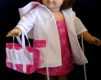 """Bright Pink Floral & Butterfly Print Sun Dress, Coat and Tote Bag Fits  American Girl or Similar 18"""" Dolls"""