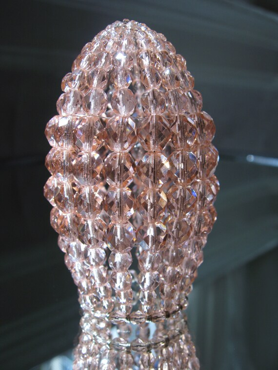 Small Pink Blush Beaded Light Bulb Cover, Chandelier Shade, Faceted Glass Light, Sconce, Candelabra Light, Shabby Chic Lamp Shade
