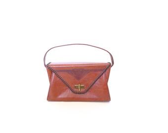 Brown Tooled Leather  Purse. Vintage 1950s Clifton's Envelope Handbag