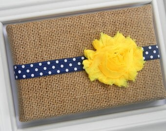 Yellow Chiffon Flower Headband - Navy and Yellow Shabby Chic Headband