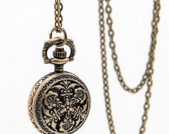 1pcs  Small Watch Charms Pendant with chain Hollow flower pocket watch necklace Children's gifts, Christmas gifts,
