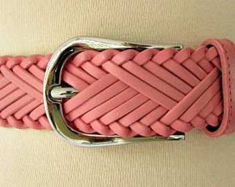 vintage 80s pink woven leather belt size 40