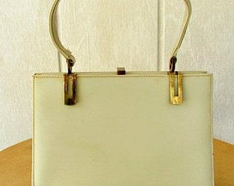 vintage 50s neutral leather framed kelly purse bag satchel Dofan made in France