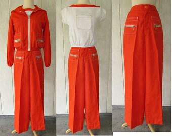 vintage 60s pants suit 3 piece set mod orange pants hooded jacket shirt nos 7 sears jr bazaar tall long leg pants free shipping