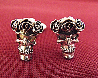Mens Silver Cufflinks,   Gothic Sugar Skull,  Mens Accessory Groomsmen Wedding