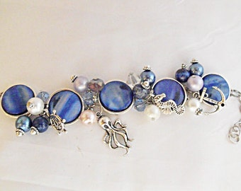 Silver Charm Bracelet,  Nautical Coin Pearl Chunky Bracelet  With Charms Adjustable  Womens Gift Handmade