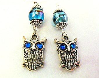 Silver Dangle Earrings,  Cute Steampunk Owl Earrings With Rhinestones Eyes And Lampwork Beads  Womens Gift  Handmade