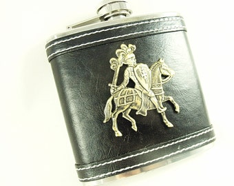 Flask , Leather Wrap With Brass Medieval Knight   6 Ounces    Mens Gift  Handmade