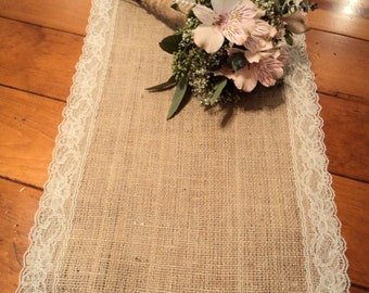 "12"" or 14"" x 108"" Natural Burlap Table Runner with Ivory or White Lace Rustic Chic Home Decor"