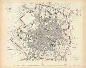 1832 Map of Milan, Italy