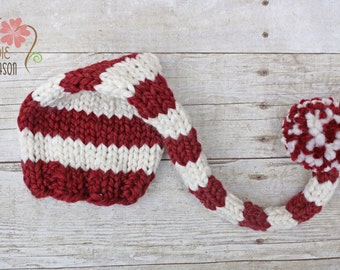 Maroon Red and Cream Chunky Striped Elf Hat Newborn Photography Prop