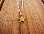 Minimalist brass star on gold plated chain