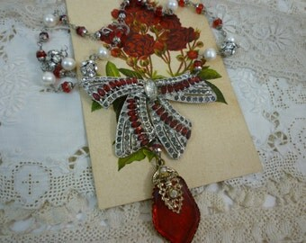DECADENT BOW vintage assemblage antique  RED necklace