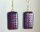 Dangling Dichroic Fused Art Glass Purple Magenta Squares Earrings
