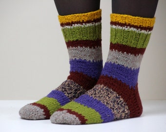 Size US woman's 8.5-9 (or EU 39-40), Warm hand knit wool socks, beautiful colorful and striped