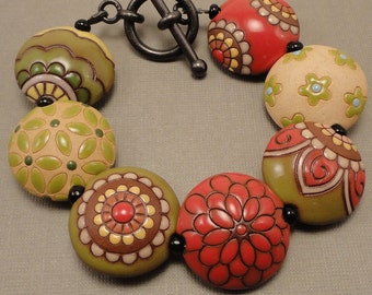 Red and Green Stoneware Bead Bracelet