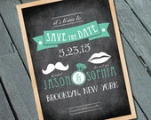 Chalkboard Mustache Vintage style SAVE THE DATE Card, Digital printable file/Printing Available Upon Request