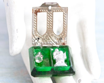 Antique Pocket Shrine - Miniature Virgin Mary and St Christopher in Green Class Case