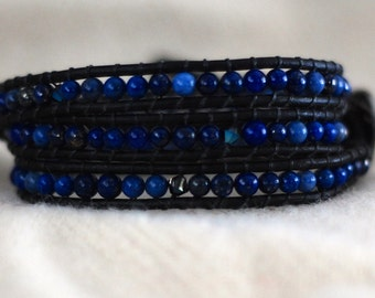 Blue Leather Wrap Bracelet - Navy Blue Leather Bracelet - Blue Wrap Bracelet - Blue (B320)