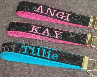 Personalized Keychain - Embroidered Name - KeyFob- Wristlet