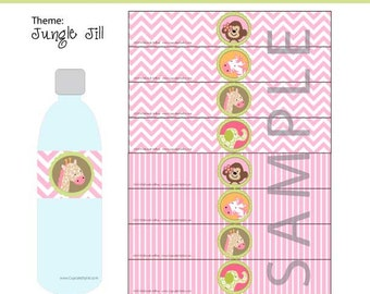 INSTANT DOWNLOAD Jungle Jill themed Water Bottle Labels by Cupcake Stylist on Etsy