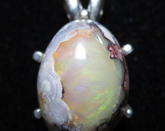 Opal in matrix on silver bezel 12.3ct October Birthstone