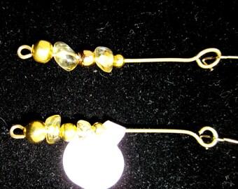 Earrings J Citrine gold kidney wires 9ct