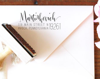 Calligraphy Return Address Stamp -- Mixed Handwritten Calligraphy and type - Rebel Stout Style large zip code