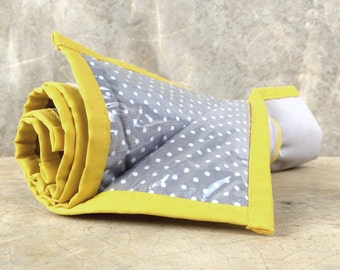 Padded Changing Pad w elastic strap / Easy to Clean / Grey with Yellow Accent / HighpantsBaby / mrHighpants