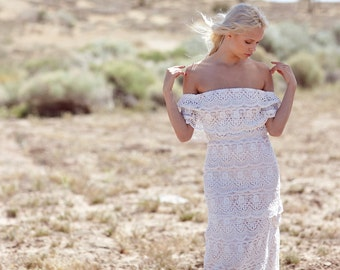 "Bohemian Wedding Dress, 1970s Hippie Off The Shoulder Gown, Tiered Crochet Lace Dress - ""Goldie"""