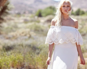 "Bohemian Wedding Dress, 1970s Hippie Bohemian Gown, Cream, Ivory, Off The Shoulder, Lace, Ruffle, Trim - ""Haden"""