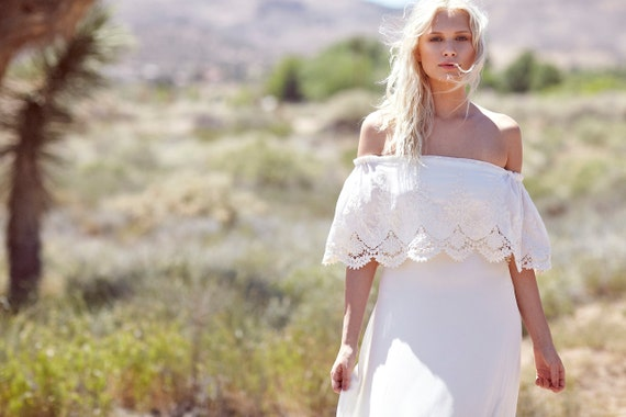 "Bohemian Wedding Dress, Hippie Bohemian Gown, Off The Shoulder Bridal Dress, Lace Ruffle Wedding Gown - ""Haden"""