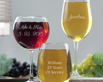 Any Message Custom Engraved Wine Glasses, wine cup, stemless wine glass, engraved, chalice, white wine, red wine -gfyL9401X