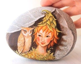 Painted stone. Ready to ship.  Express Free shipping Little fairy with owl , sprite of the forest painted pebble. Beach pebbles art