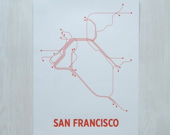 San Francisco Screen Print - Light Gray/Orange