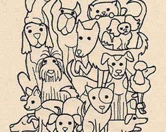 Dog Pile Embroidered Flour Sack Hand/Dish Towel