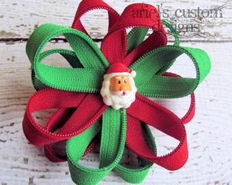 Large Christmas Santa Zipper Flower Hair Bow Clips