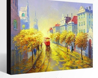 OIL Painting Giclee Print Canvas Print Fine Art Print of ORIGINAL Painting Cityscape Prague Painting Europe Painting Street view