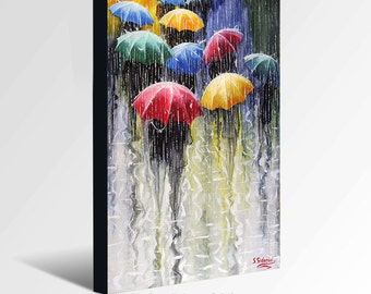 Oil Painting GICLEE Print  Canvas Fine Art Print of ORIGINAL OIL Painting Landscape Painting Umbrellas Painting Rain Cityscape Painting